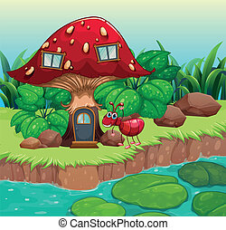 An ant near the red mushroom house - Illustration of an ant ...