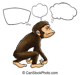 An ape thinking - Illustration of an ape thinking on a white...