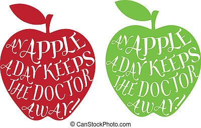 an apple a day, vector - an apple a day keeps the doctor...