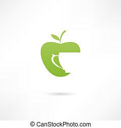 An apple and a cup. Icon of apple juice