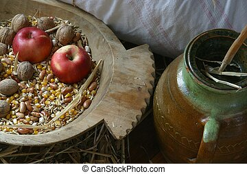 An apple and walnuts
