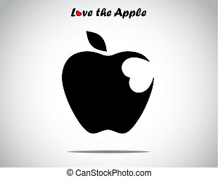an apple with a leaf with a heart shaped bite icon - concept design illustration unusual art