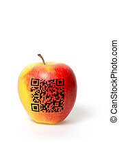 apple with qr code - an apple with qr code isolated on a...