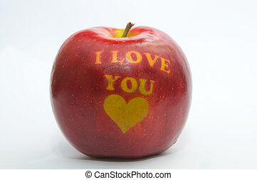 An apple with the inscription about love