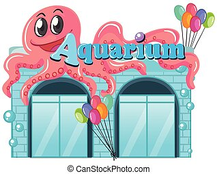 An aquarium on white background