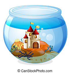 An aquarium with a castle