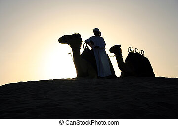 An Arab Camel Herder pauses for a rest at sunset