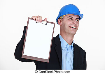 An architect presenting a clipboard.