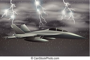 An army plane on bad weather sky