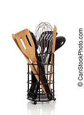 An array of kitchen utensils on white - An array of kitchen...