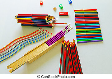 an array of school stationary