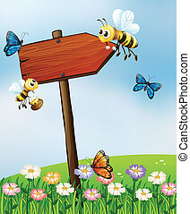 An arrow board with insects