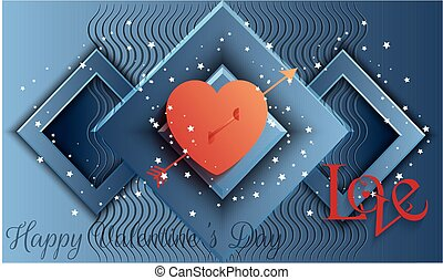 an arrow with heart and love message on abstract background