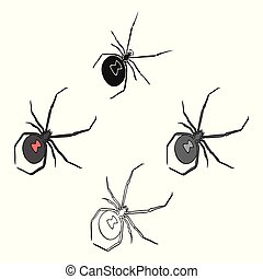 An arthropod bug is an insect. A spider, a predatory insect single icon in cartoon, black style vector symbol stock isometric illustration web.