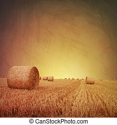 Straw Bales - An Artistic Vintage Photo Grunge Landscape ...