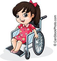 An Asian girl riding on a wheelchair