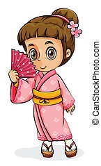 An Asian girl wearing a kimono - Illustration of an Asian...
