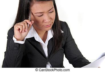 Job Applicant - An Asian Job Applicant thinking