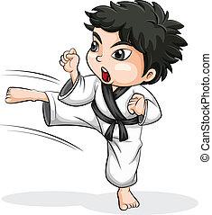 An Asian taekwondo player