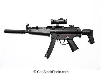 An assault gun with scope and flash suppressor.