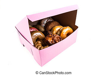 An assorted dozen donuts in a box isolated on a white background