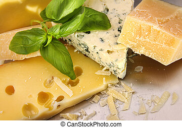 An assortment of cheeses on counter - An assortment of ...