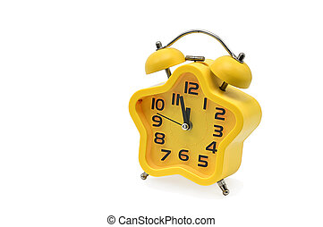 An asterisk Christmas clock showing residual time until midnight on a white background. Yellow. Twelve o'clock