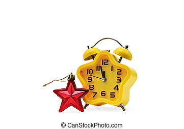 An asterisk Christmas clock shows the remaining time until midnight with a red asterisk, on an white background. Yellow.12,Twelve o'clock