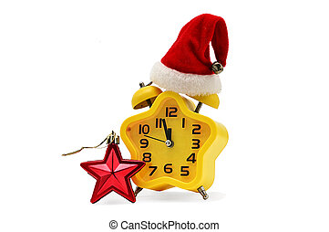 An asterisk Christmas clock shows the remaining time until midnight with a Santa Claus hat and a red asterisk, on an white background. Yellow.12,Twelve o'clock