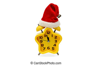 An asterisk Christmas clock shows the remaining time until midnight with a Santa Claus hat, on an white background. Yellow.12,Twelve o'clock