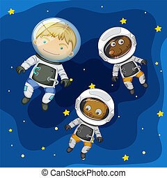 An astronaut and pet in space