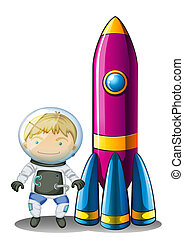 An astronaut beside a rocket