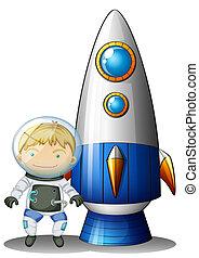 An astronaut beside the airship