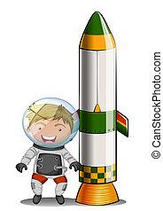 An astronaut beside the rocket