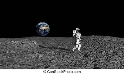 An Astronaut Doing The Moonwalk And Dancing On The Moon Slow...