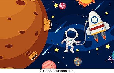 An Astronaut Exploring the Universe