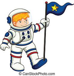 An astronaut holding a flag