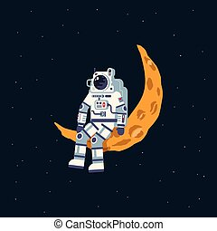 An astronaut in a spacesuit sits on the moon crescent