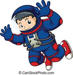 An astronaut in the air