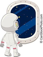 An astronaut look out window illustration