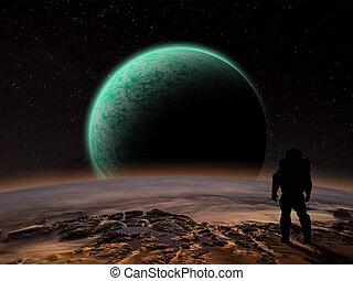 An astronaut watches an alien planet rise over a rocky moon. Sci-fi Fantasy artwork.
