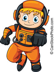 An astronaut wearing an orange suit