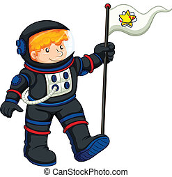 An astronaut with a banner