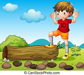 An athlete near the trunk - Illustration of an athlete near...