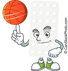 An athletic pills cartoon design style playing basketball. ...