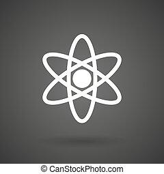 an atom white icon on a dark background