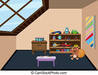 An attic playroom background illustration