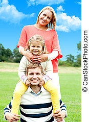 An attractive happy smiling family