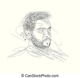 An attractive man's face dissolving into pen lines, Hand Drawn Line Art Vector illustration.