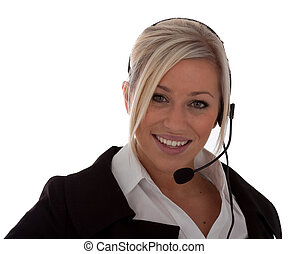 an attractive young call-center operator